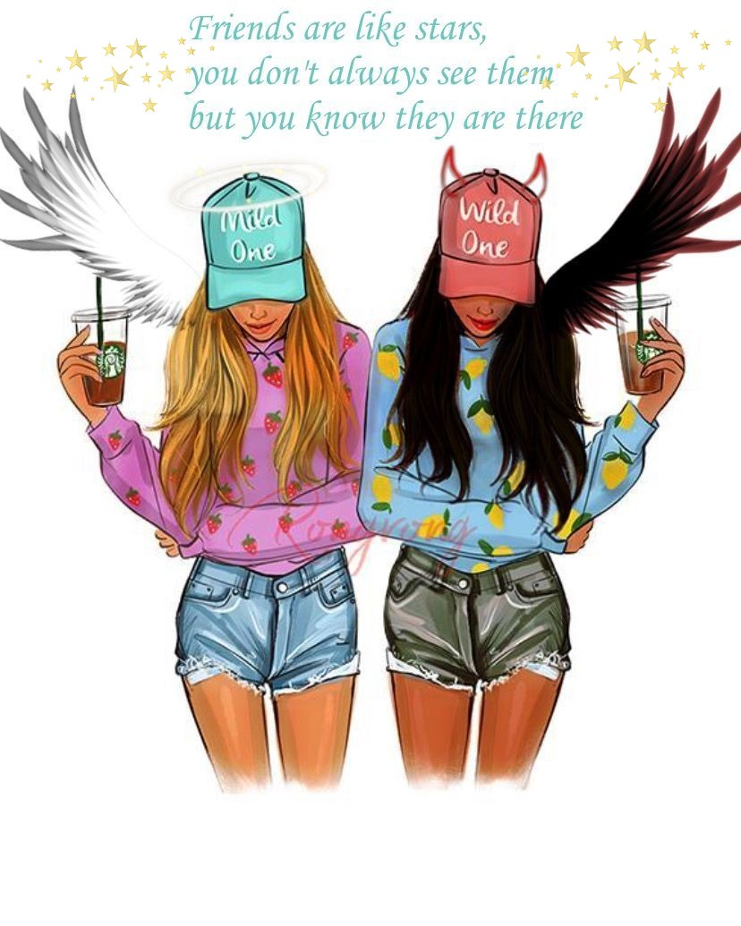Girls Friendship Ecards Best Friend Wallpaper Drawings Of Friends Bff Drawings