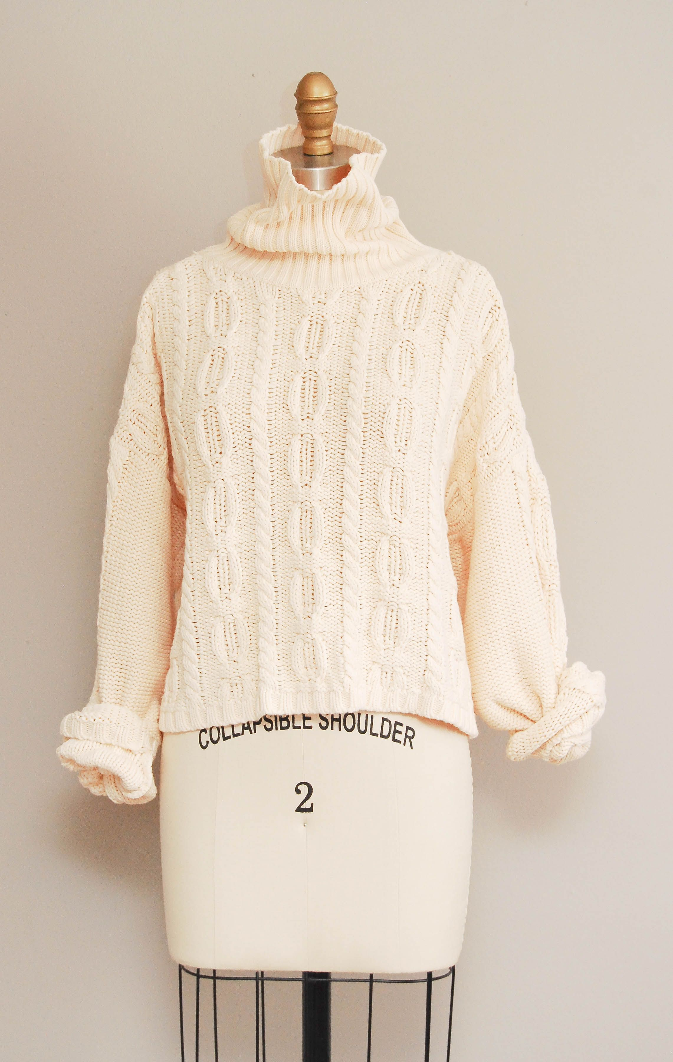 Vintage Cream Cable Knit Cropped Sweater / Cozy Turtleneck Sweater ...