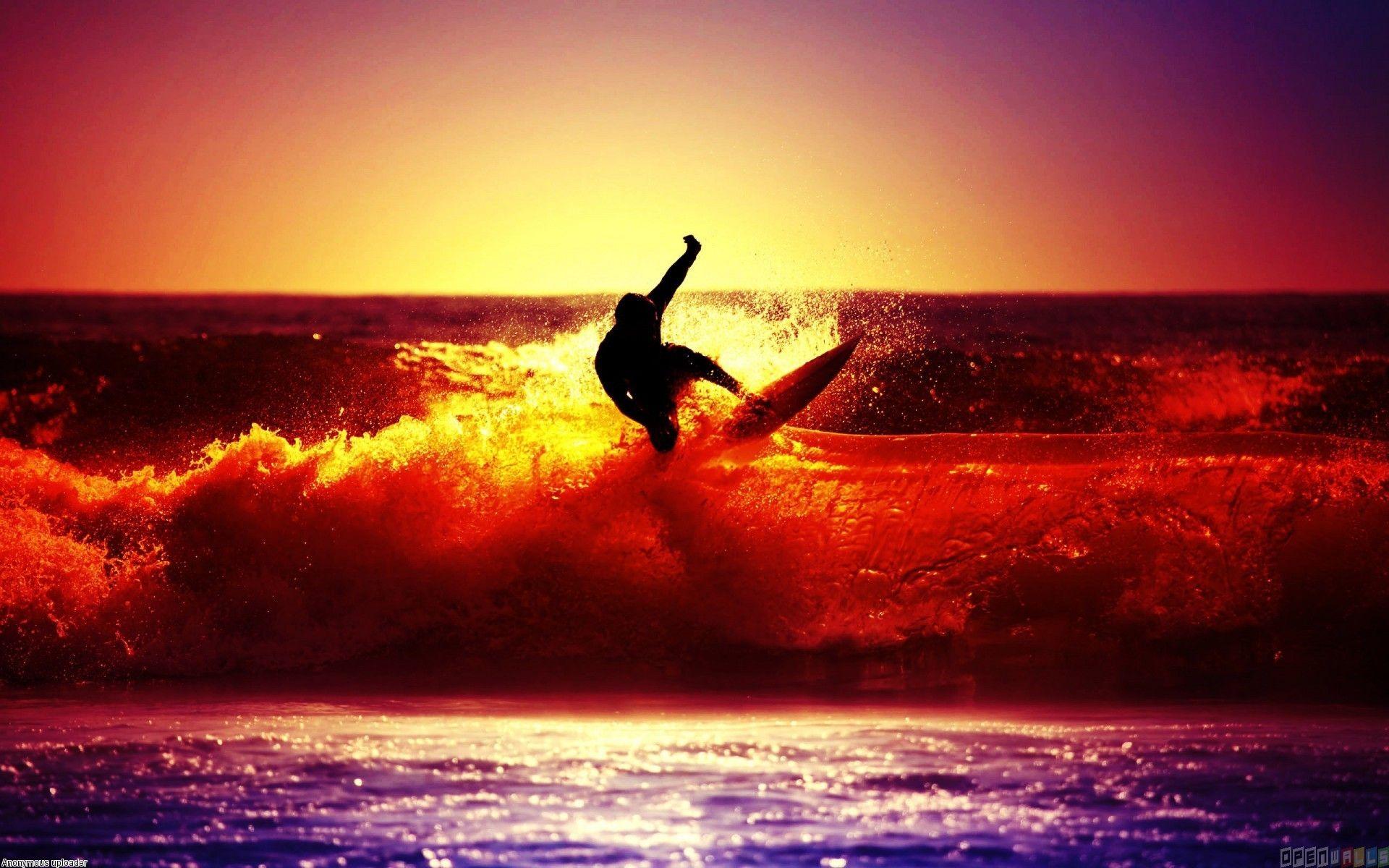 Surfingwavesatsunset Surfing In Sunset Light Wallpaper 19870