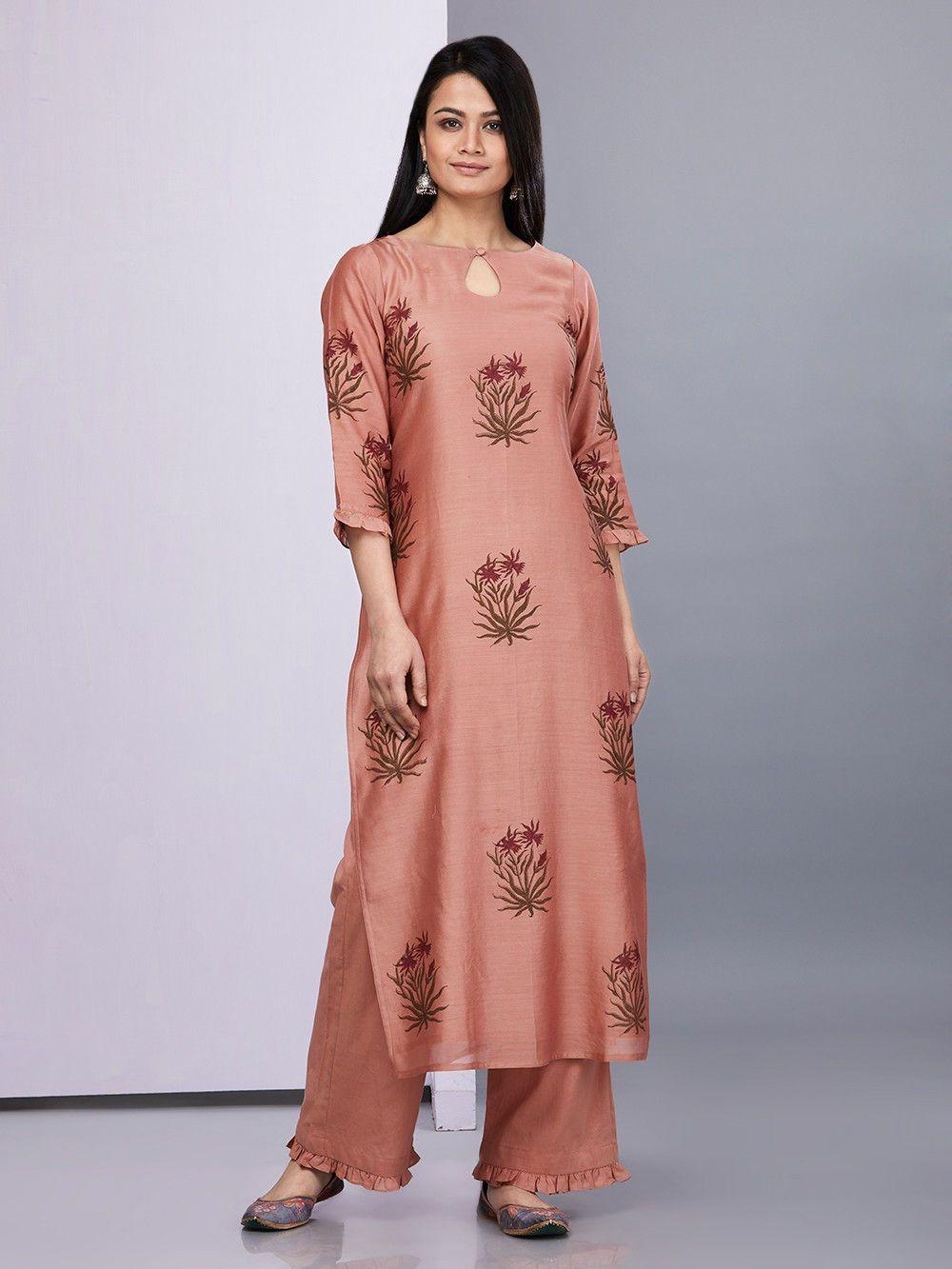 858fb2ec9c Brown Green Hand Block Printed Chanderi Cotton Suit - Set of 3 ...
