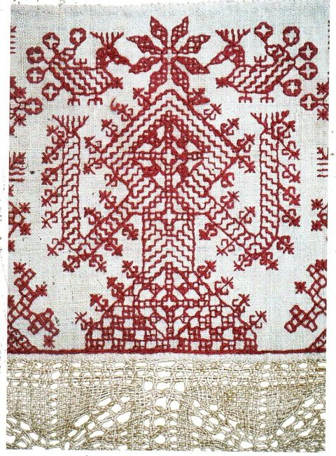 Redwork - This ritual cloth from Tunisia depicts a goddess motif. Similar designs are quite common in agricultural areas that have long standing needlework traditions.