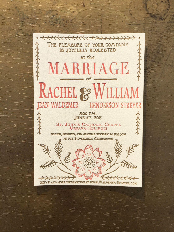 Letterpress wedding invitations floral embroidery custom garden