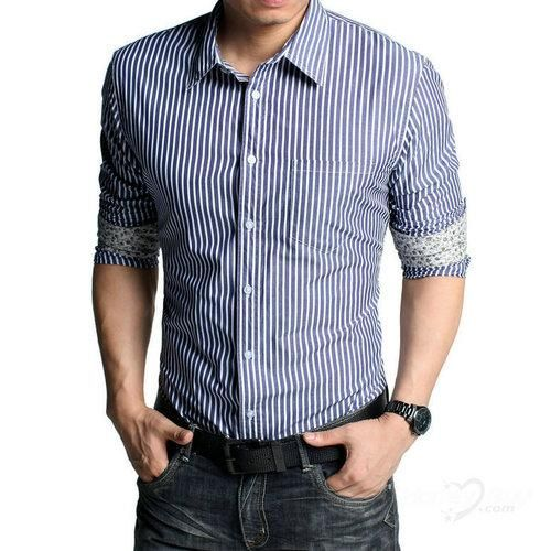 Cool Long Sleeve Blue and White Stripes Shirt for Mens | Shirt ...