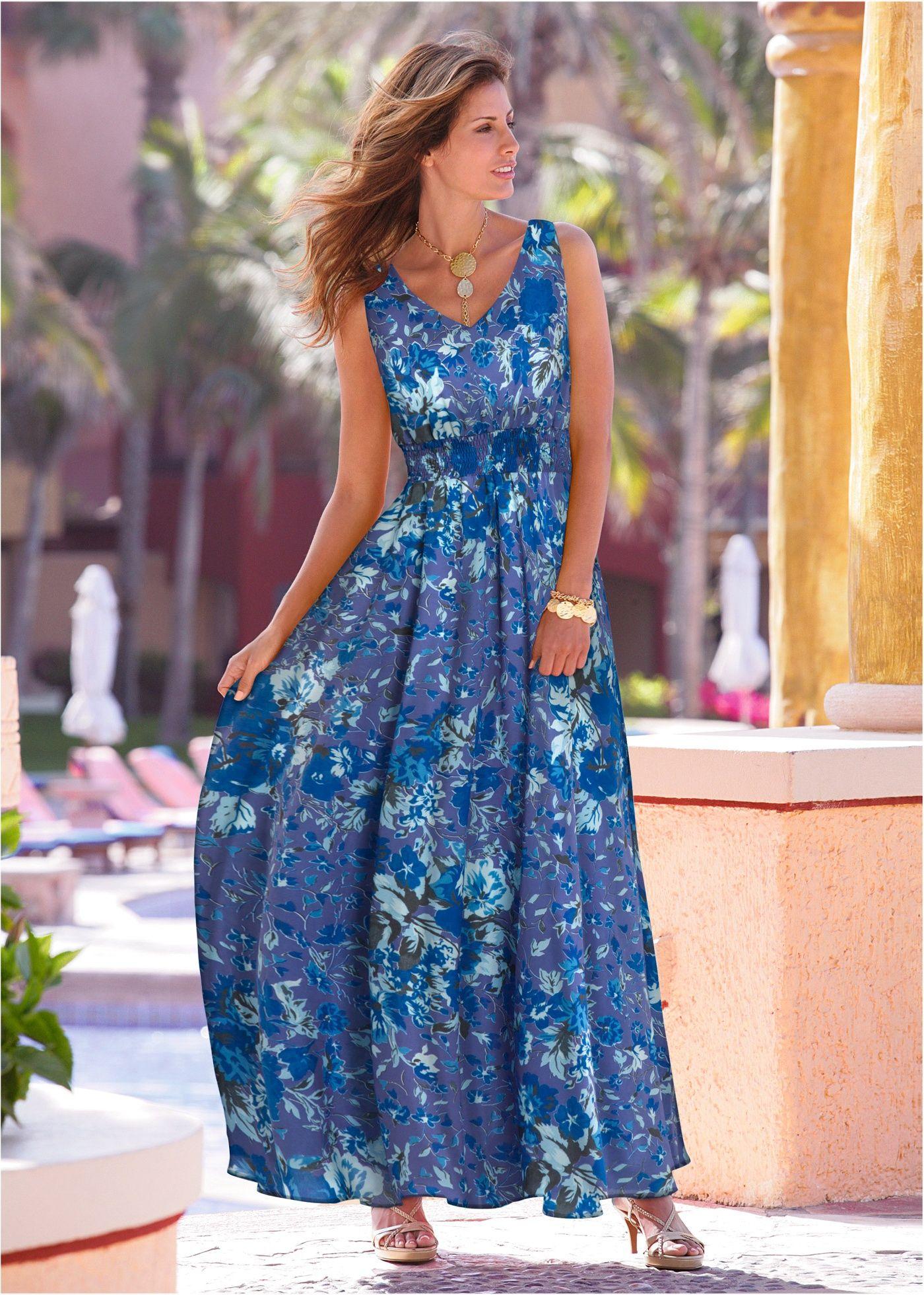 692fb2335b38 Vestido longo estampado azul celeste/ azul médio encomendar agora na loja  on-line bonprix.com.br R$ 139,90 a partir de Cada peça é única!