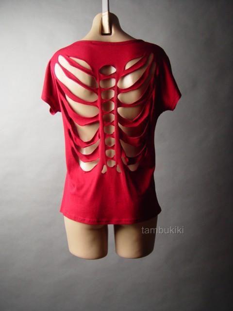 81740abbd4c4 Details about Skeleton Graphic Spine Cut Out Slit Slash Torn Back ...