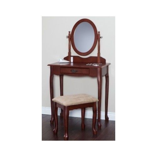 Classic Vanity with Stool Cherry Set Mirror Bedroom Makeup Hardwood - Bedroom Vanity Table