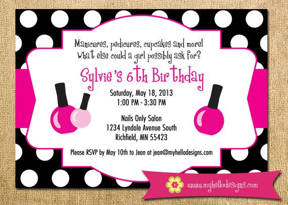 printable spa party invitation diy  invite spa manicure pedicure, invitation samples
