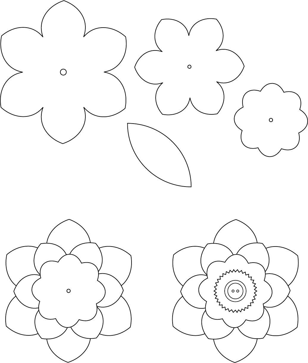 picture relating to Felt Flower Template Printable titled Flower Template 1 Crafts Flower template, Felt flower