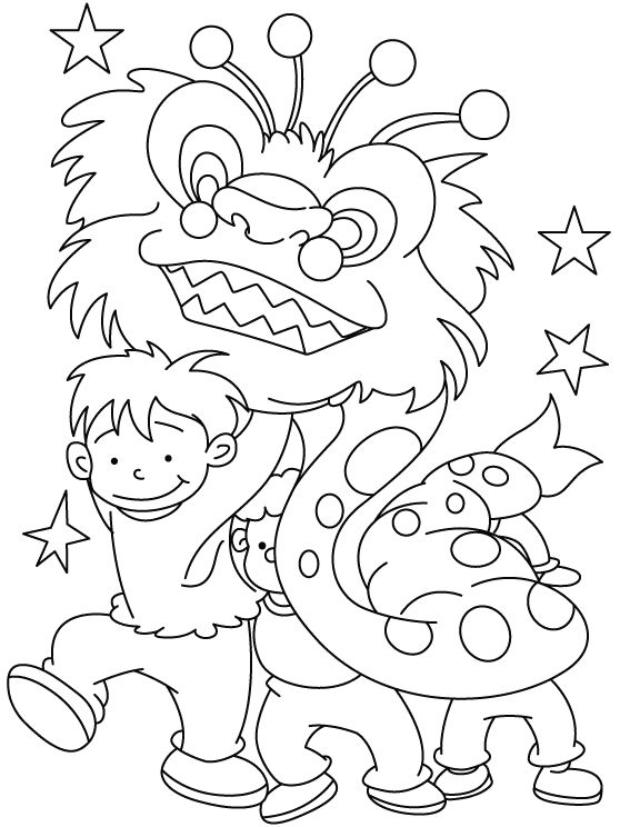 Young Children Celebrate Chinese New Year Coloring Pages … | Kid ...