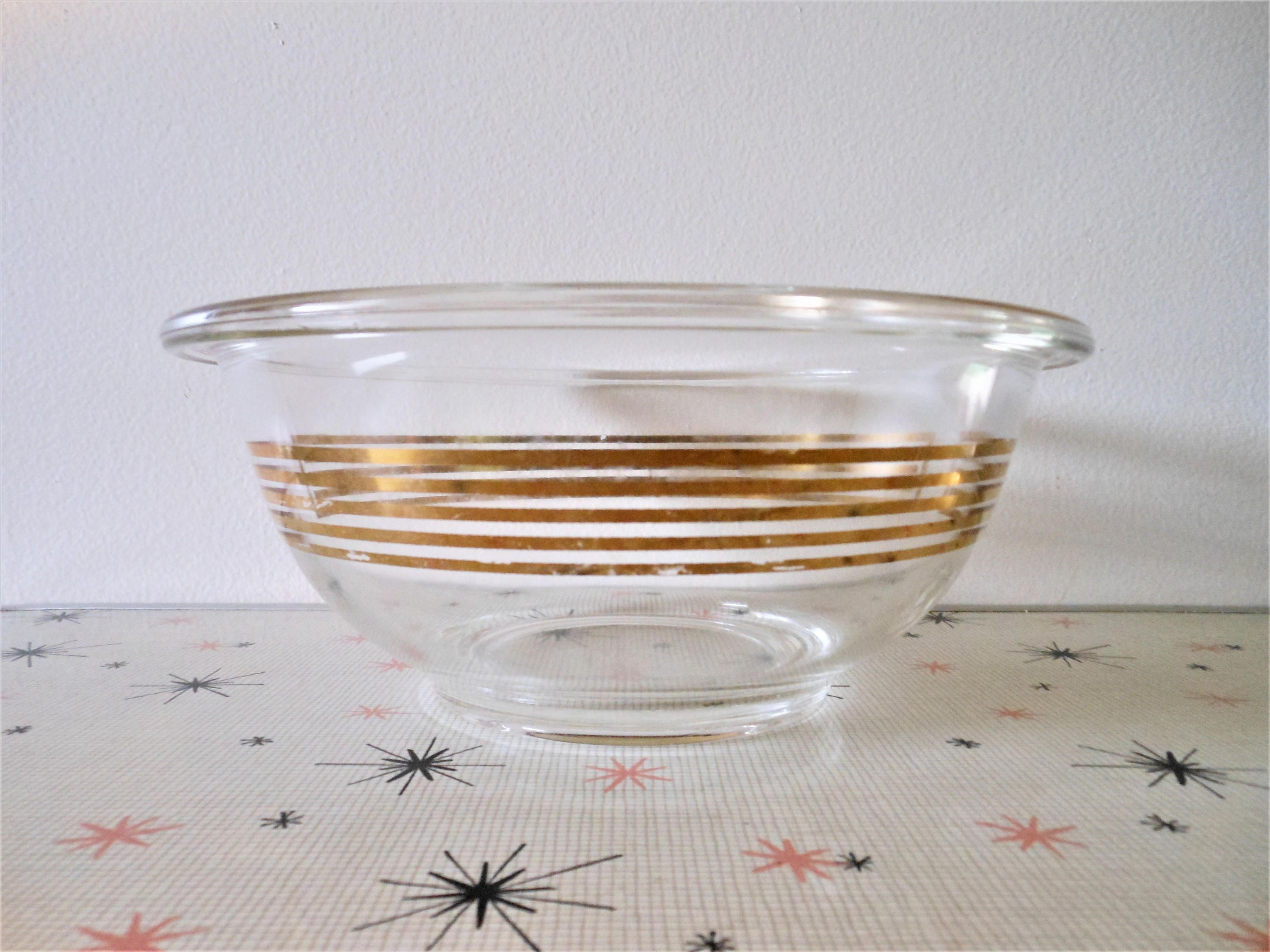 Pyrex Musical Staff 1.5 Qt Clear Glass w Gold Musical Band Mixing ...