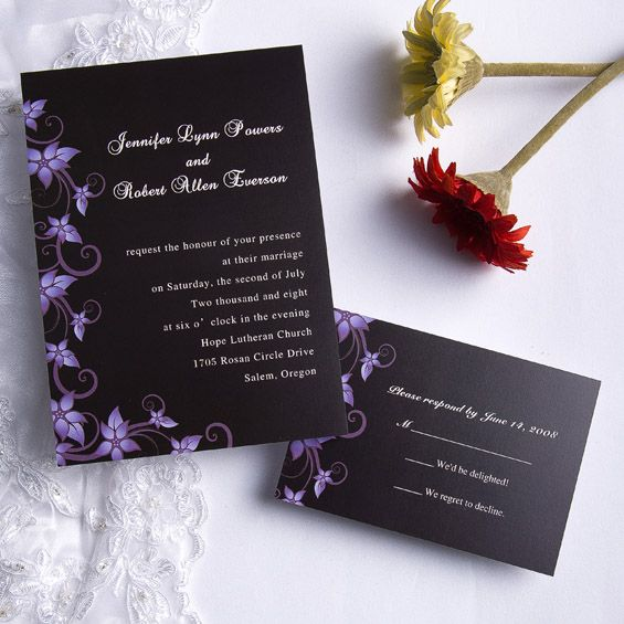 Cheap Printed Wedding Invitations: Romantic Purple Wedding Invitations [VPN126] [VPN126]