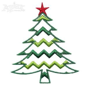 """Christmas Tree Chevron Print Embroidery Design. You Get Three Sizes: 2"""" x 1.76"""" and 260 3"""" and 3.48"""" x 4"""""""