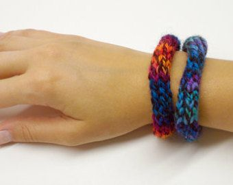 Rainbow Red Blue Colorful Soft Cute Knitted Handmade Tie Dye Knit Bracelet Accessory
