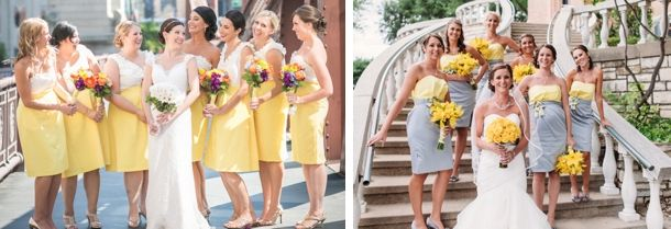 Two Tone Yellow Bridesmaid Dresses with Sleeves