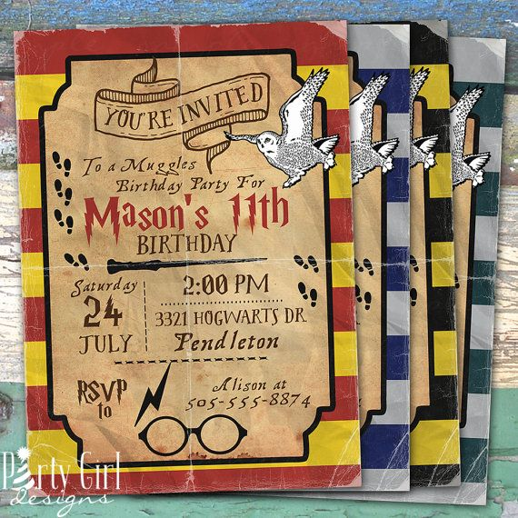 Harry Potter Inspired Personalized Birthday Printable Invitation