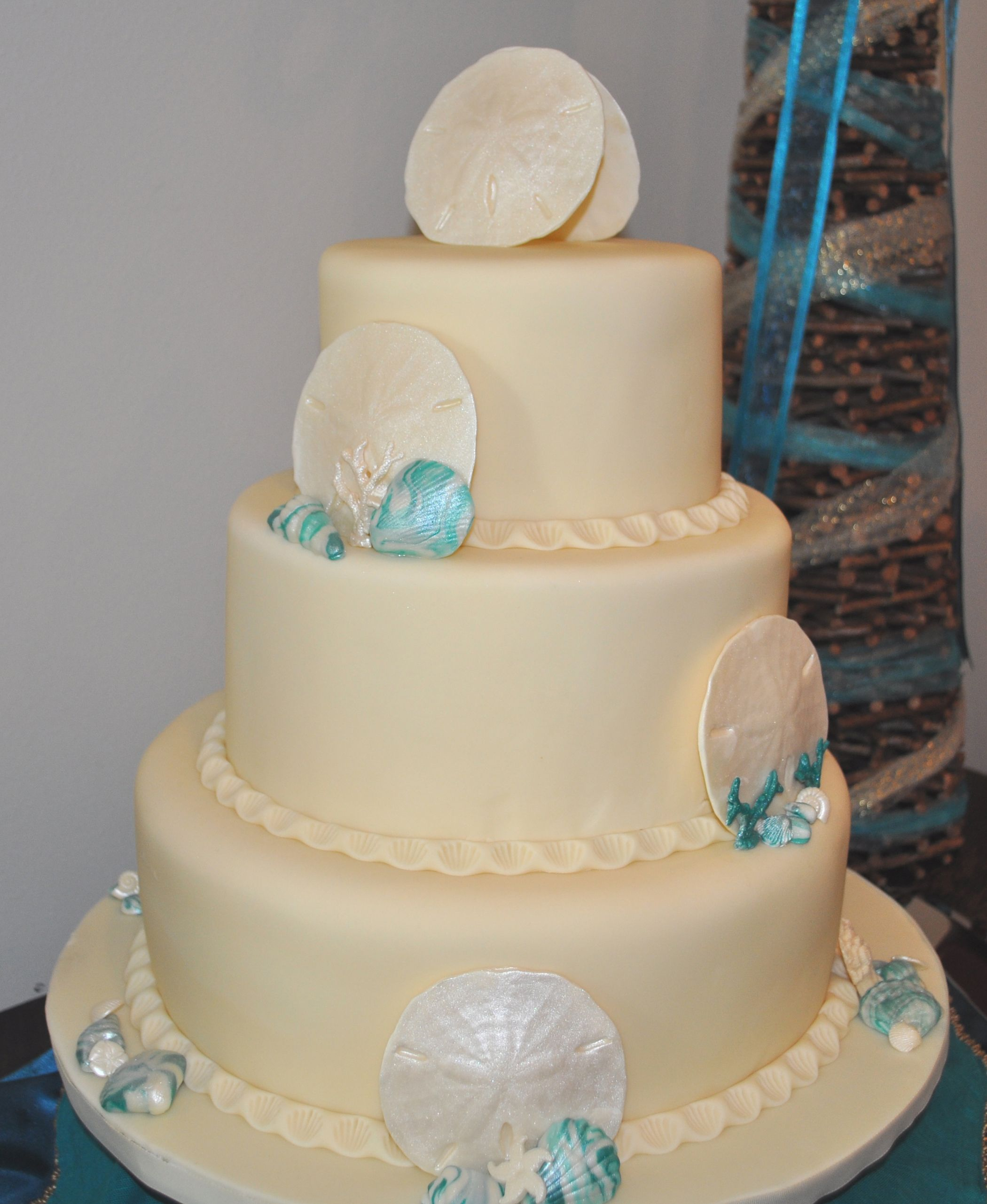 Beach themed wedding cake - Beach themed, teal with ivory sand ...