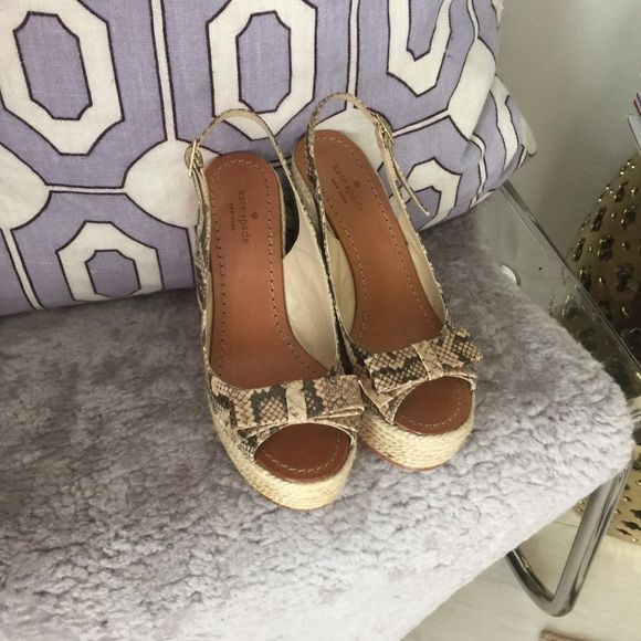 Kate Spade Python Wedges NWOT Size 6 Kate spade, authentic, new without tags, size 6, true to size, never worn, too big for me I am a size 5, perfect condition, super cute kate spade Shoes