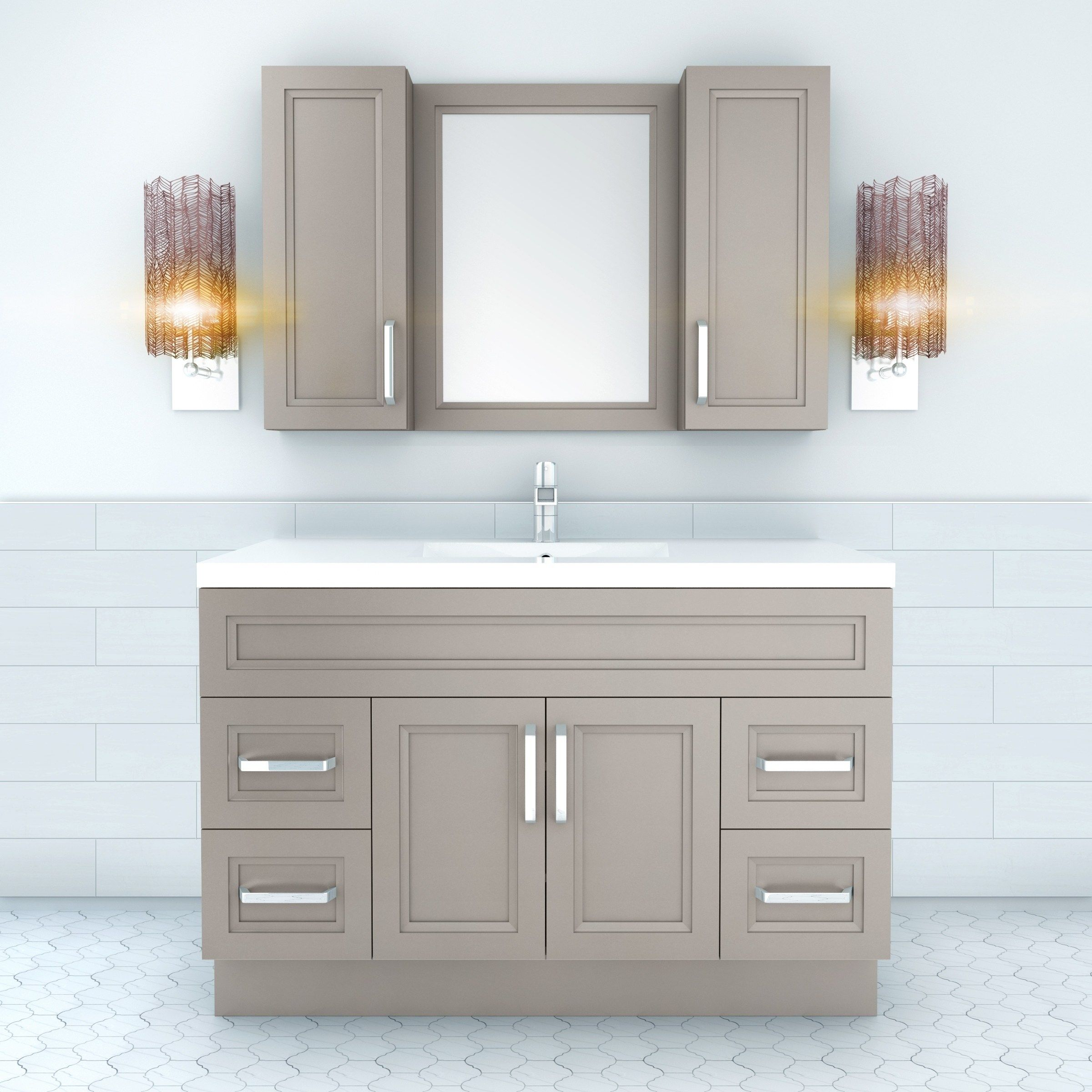 Urban Collection 48 Bathroom Vanity 2 Door 4 Drawer With Single Bowl Top Daybrea Double Vanity Bathroom Single Bathroom Vanity Contemporary Bathroom Vanity