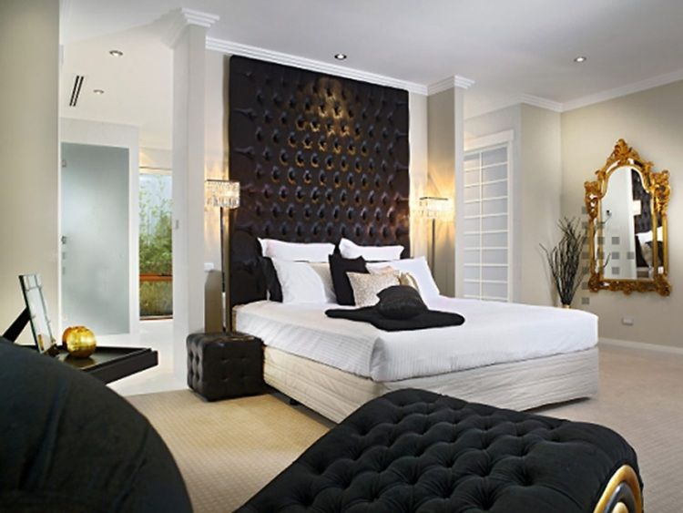 Bettkopfteil Ideen in gesteppter Optik-schwarz-weißes Schlafzimmer - schlafzimmer ideen modern