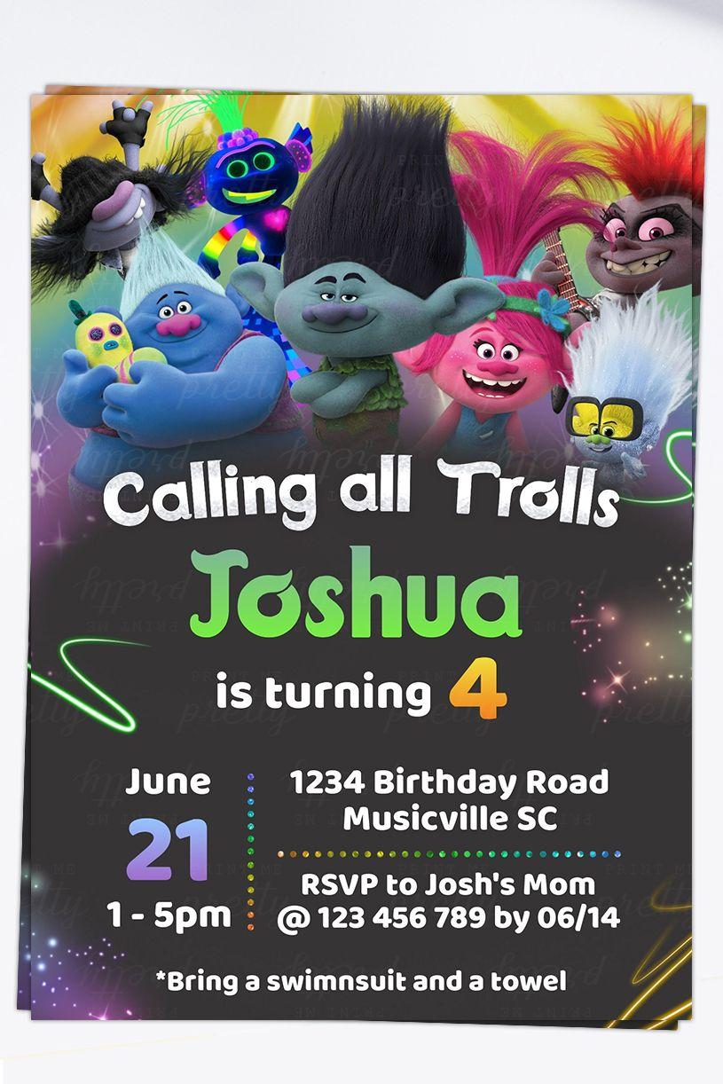 trolls 2 world tour birthday invitation