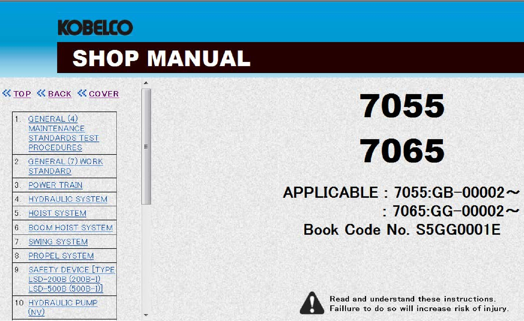 Kobelco 7055 Manual Hydraulic Systems Manual Repair Manuals