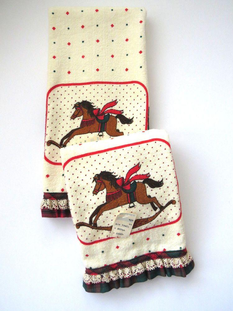 Pair Vintage Terry Cloth Towels Rocking Horse Tea Dish