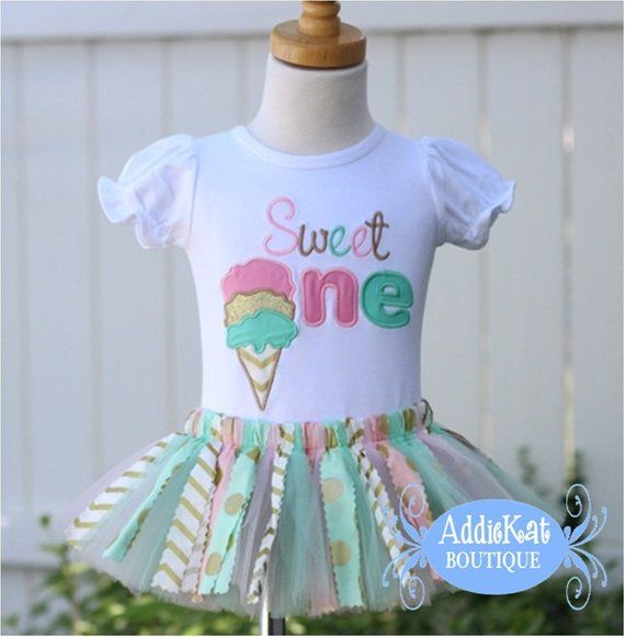 98c768c6c762 Personalized Gold, Mint and Light Pink Ice Cream Cone Birthday Shirt ...
