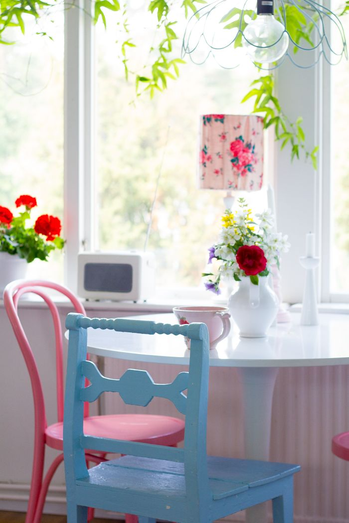 bright chairs painted in different colours | Dining room ...