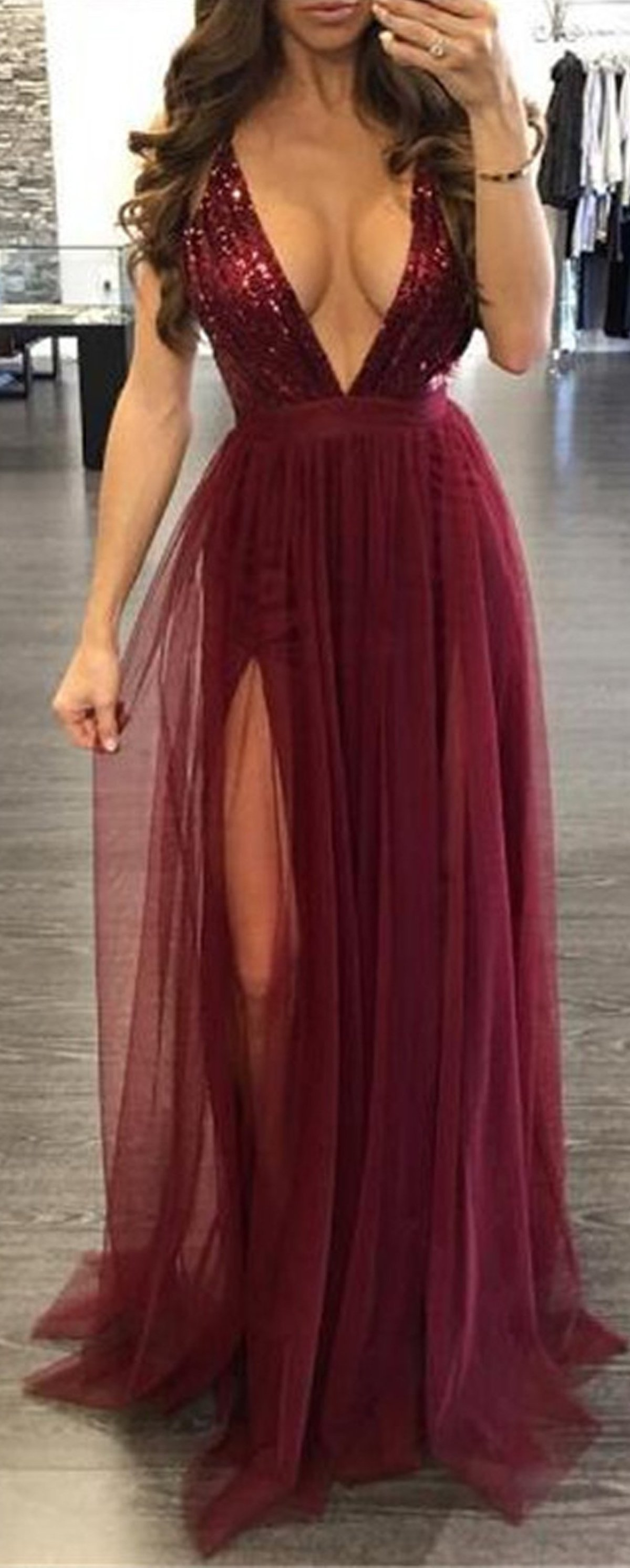 Elegant Glitter Sparkly Backless Chiffon Floor Length V Neck Burgundy Maxi  Dress with Thigh High Slit. Wedding Guest Outfit Idea. 36e7685a3