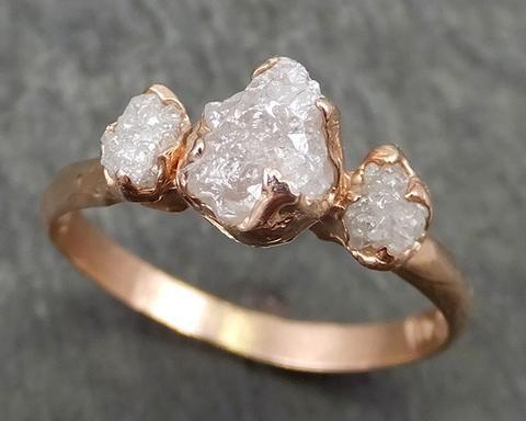 Dainty Raw Rough Diamond Engagement Stacking Multi stone ring ... f50f89e1b6