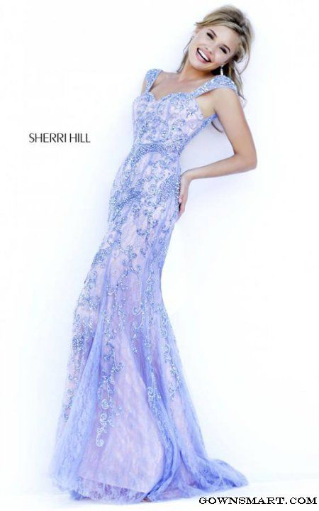 Periwinkle Sherri Hill 9742 Romantic Lace Evening Gown | Abiti ...