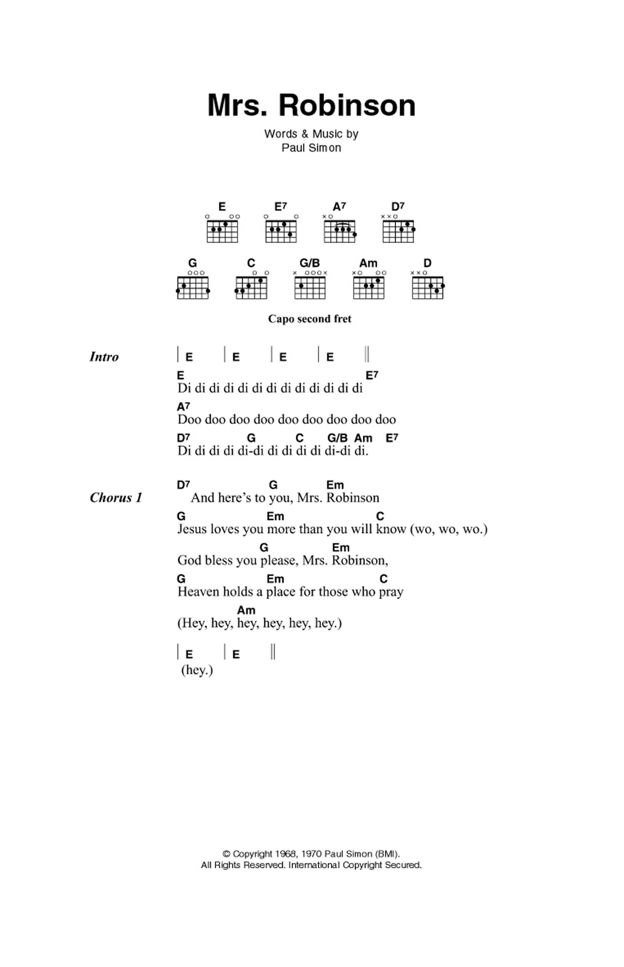 Mrs Robinson By Simon Garfunkel Guitar Chordslyrics Guitar