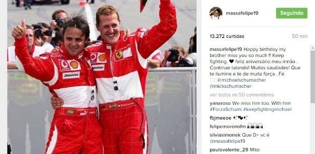 Mundo da F-1 parabeniza Schumacher por aniversário e Massa ressalta saudade