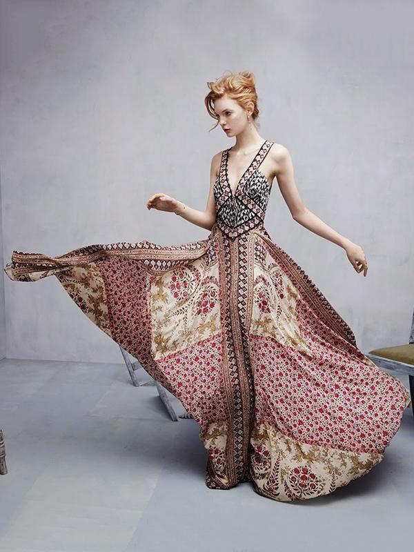 Spagetti-neck V-neck Bohemia Maxi Dress  08f82b5fdade