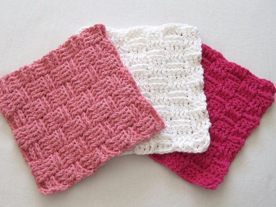 Crochet Washcloths Rose Pink White Hot Pink by TalicakeCrochet