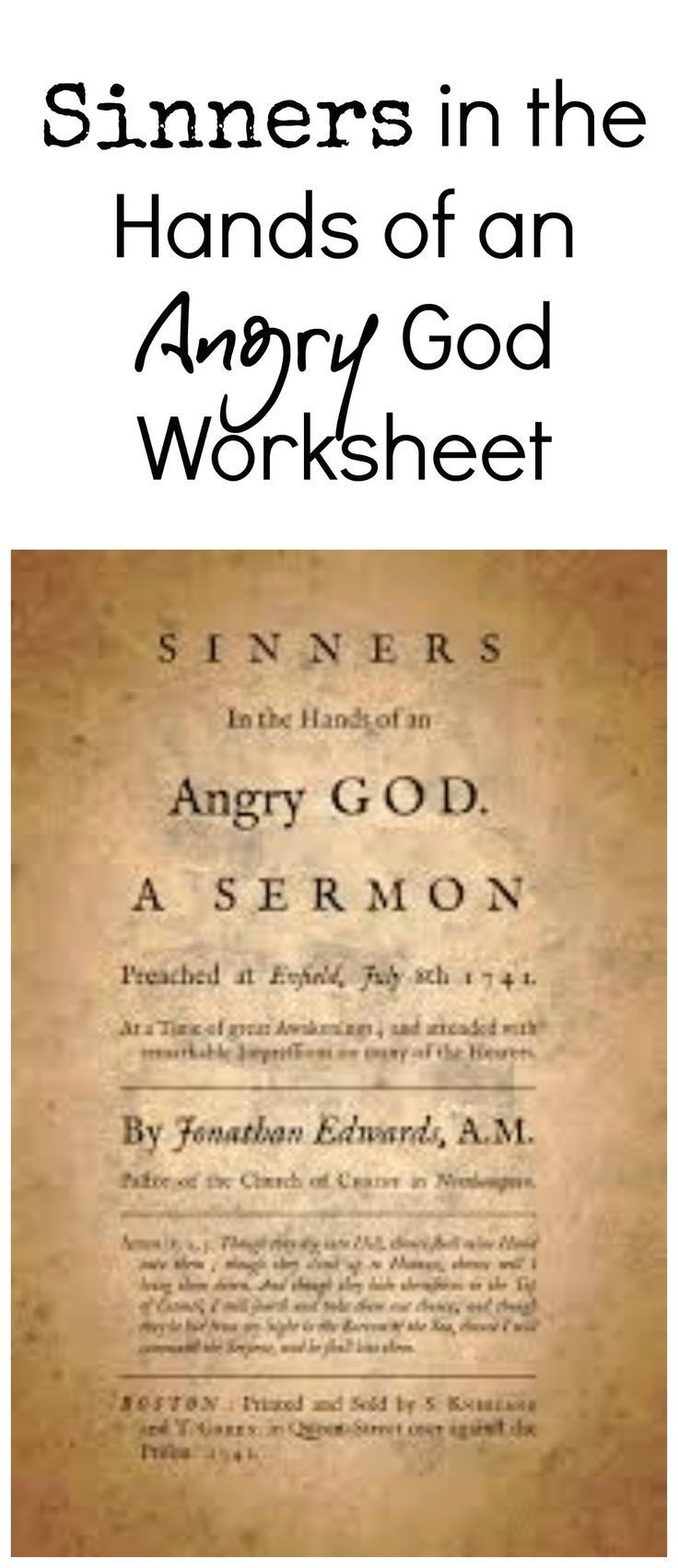 Sinners In The Hands Of An Angry God Worksheet All Things