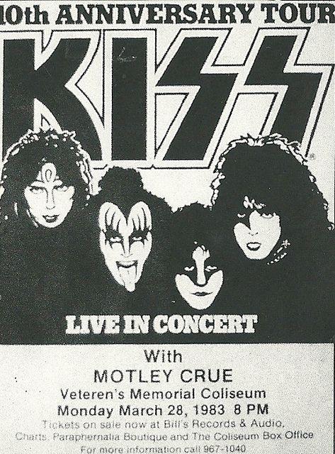 03 28 83 Kiss Motley Crue Veterans Memorial Coliseum Phoenix Az Vintage Concert Posters Band Posters Kiss Artwork