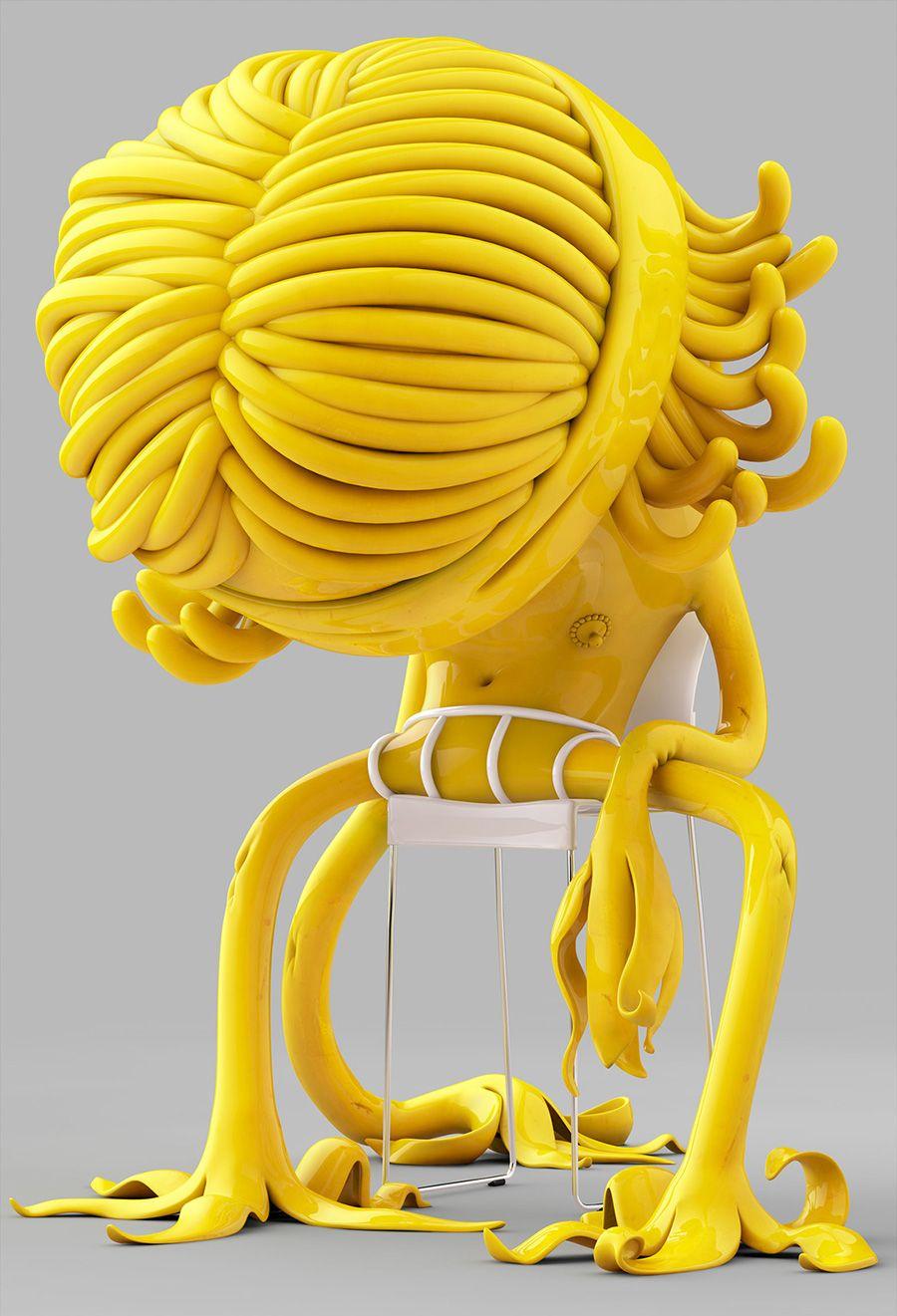 Los característicos y casi líquidos personajes renderizados del artista alemán Mark Gmehling.                          — MARK GMEHLING