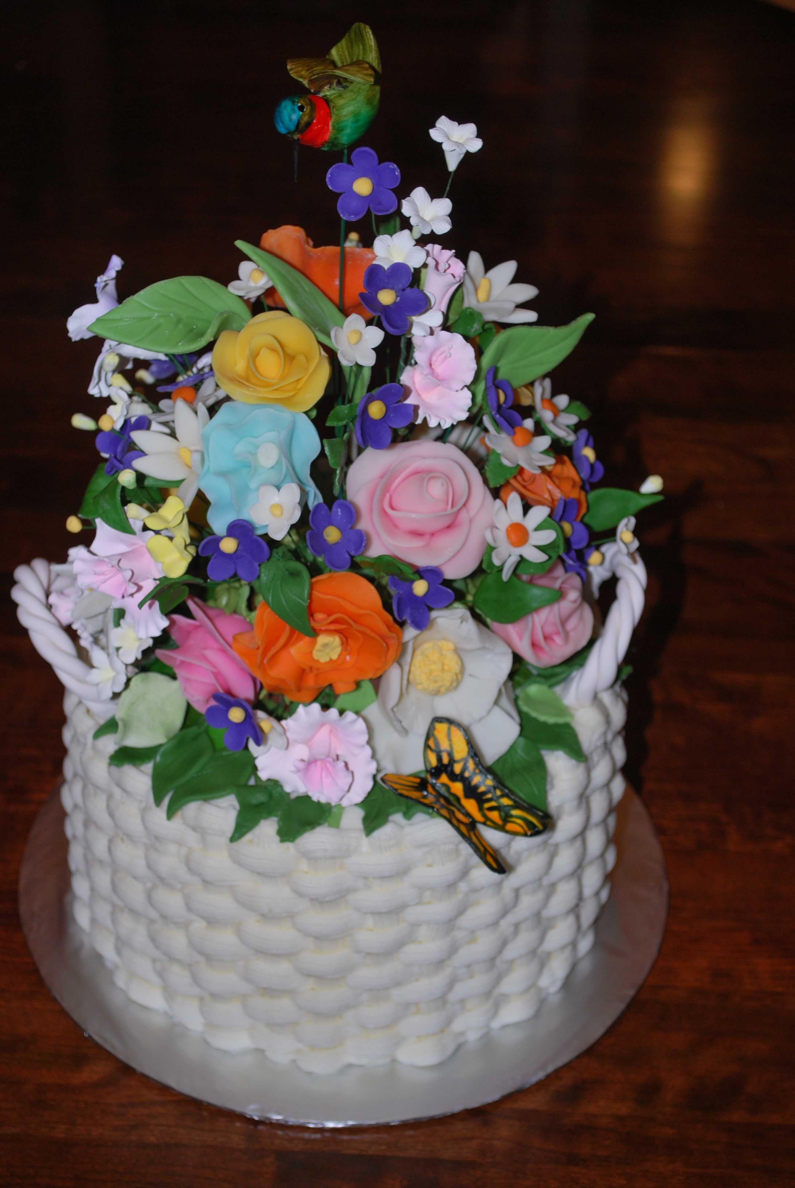flower garden cake i made this garden theme cake for a birthday three layer cake with basket weave design handmade fondant flowers hummingbird and - Garden Design Birthday Cake