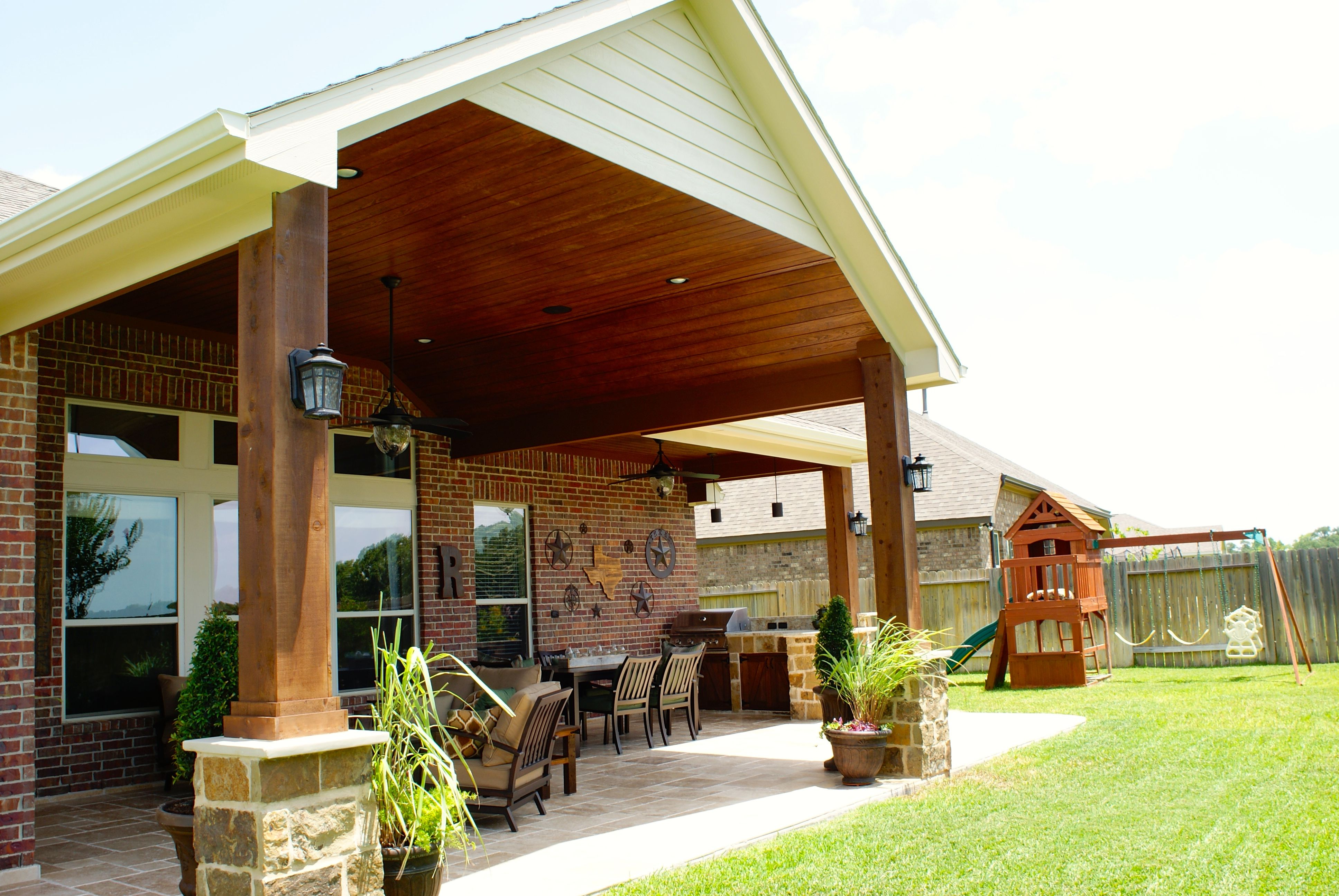 This Texas Hill Country Style Patio Cover Came About Because The Homeowner  Wanted To Extend Their Current Cover And Add A Small Kitchen Area.