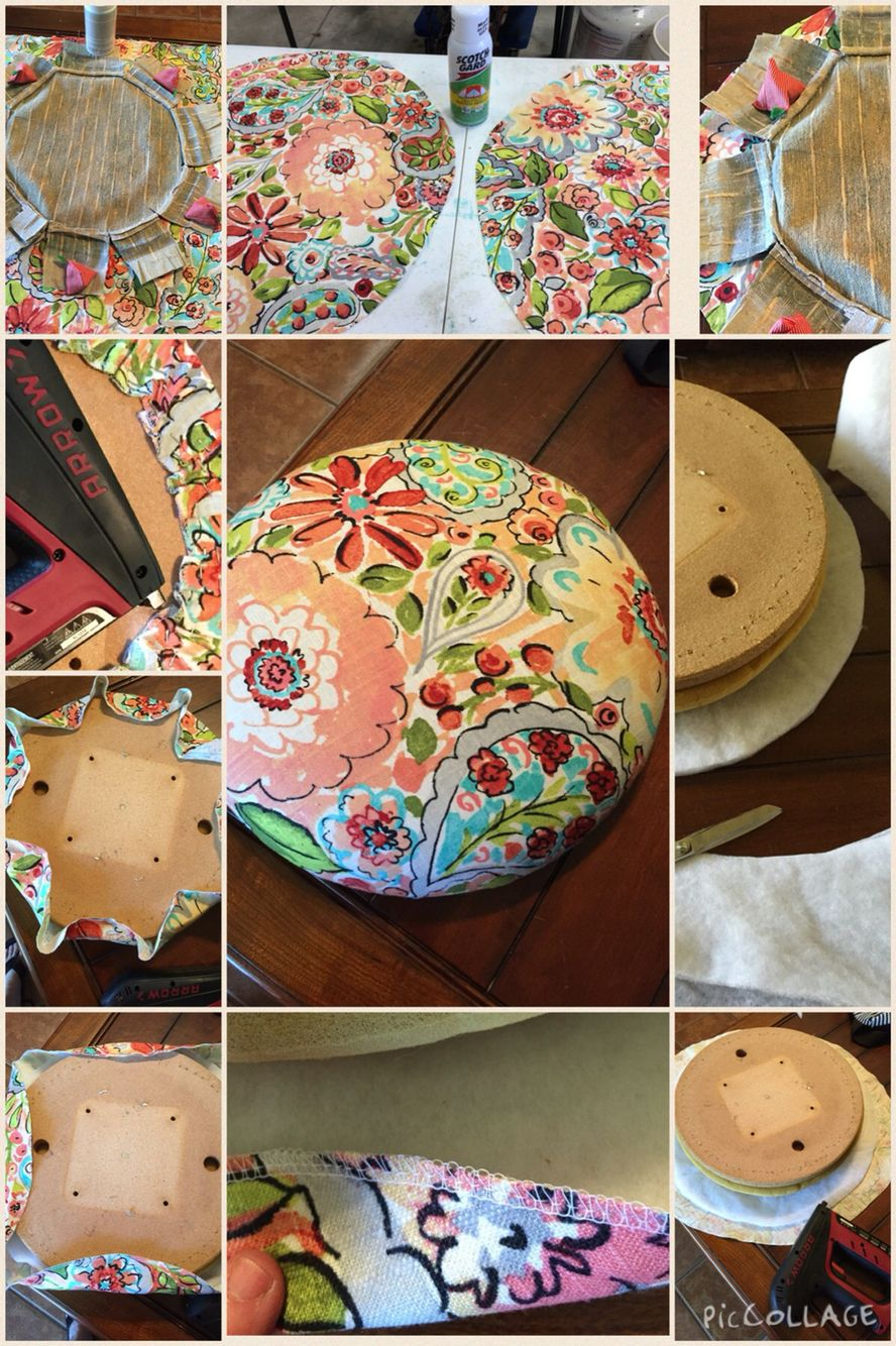 How To Recover A Round Bar Stool Cushion Without Piping Diy Chair Cushions Bar Stool Cushions Bar Stool Covers