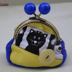 Porte monnaie rétro en cuir jaune et bleu + tissus chat/chien