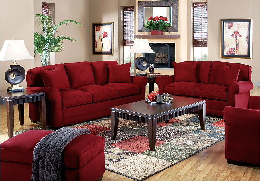 Cindy Crawford Home Bellingham Cardinal 7 Pc Living Room Red