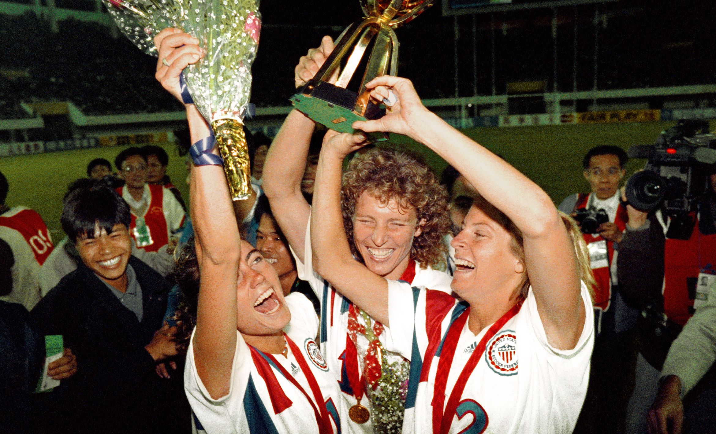 Michelle Akers (center) Who Scored Two Goals For The U.S