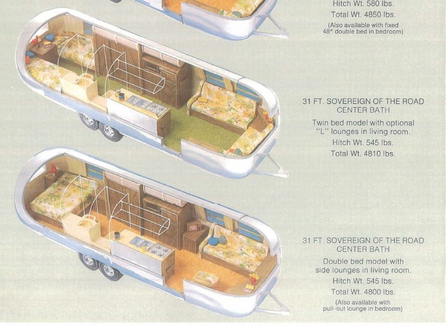 Airstream Floor Plans 31 Foot Sovereign Of The Road Center Bath Rear Twin Bed Model With Optional L Lounges Yacht Flooring Airstream Land Yacht Airstream