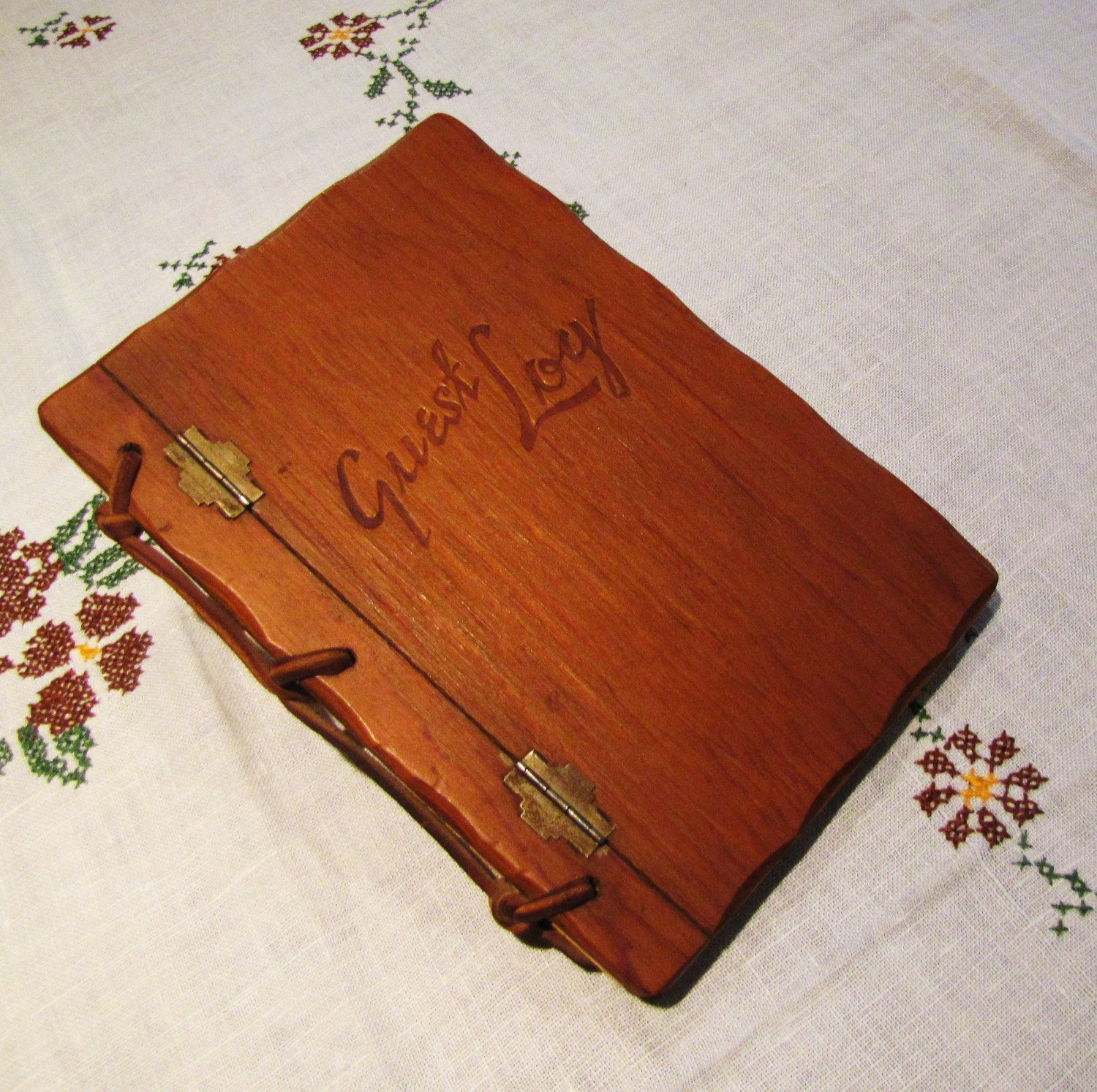 Vintage Wood Guest Log, Unused. Rustic Decor. Rustic Wedding. $36.00, Via