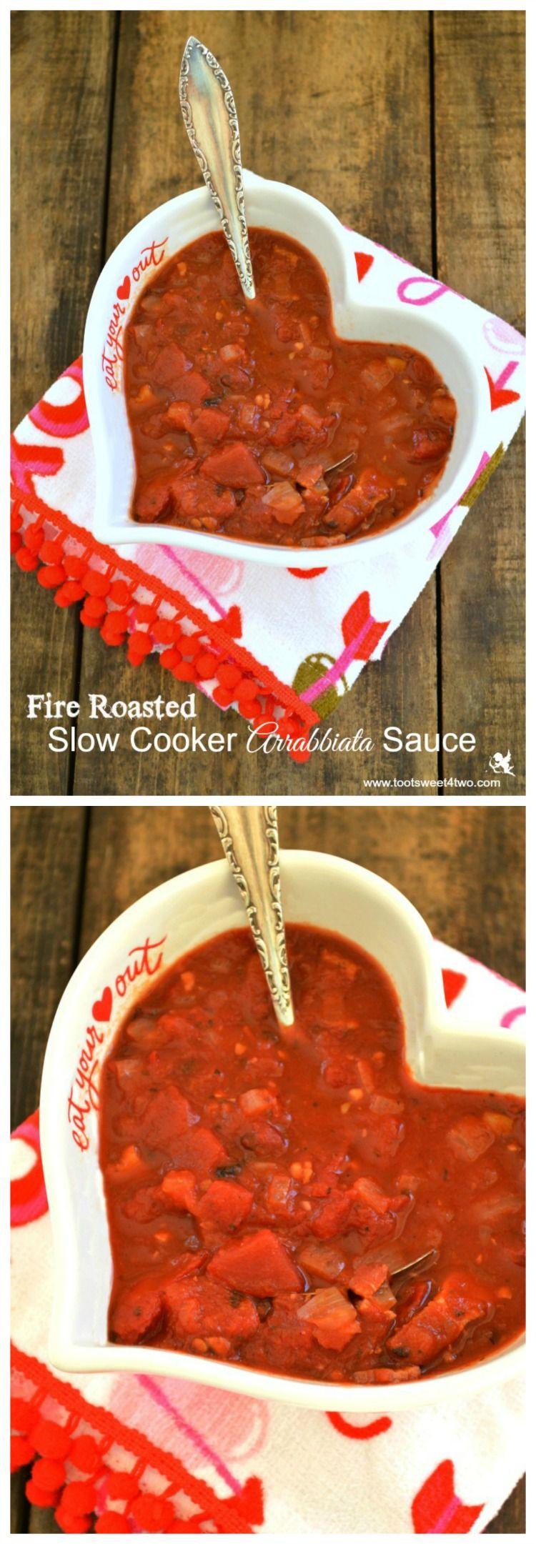 Fire Roasted Slow Cooker Arrabbiata Sauce collage