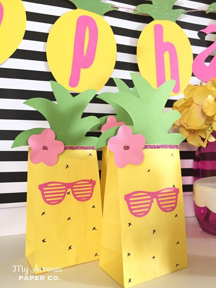 Pineapple Party Favor Bags Festa Flamingo Festa De