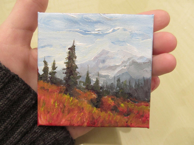 Northern Mountains Landscape Original Art 3x3 Miniature Acrylic