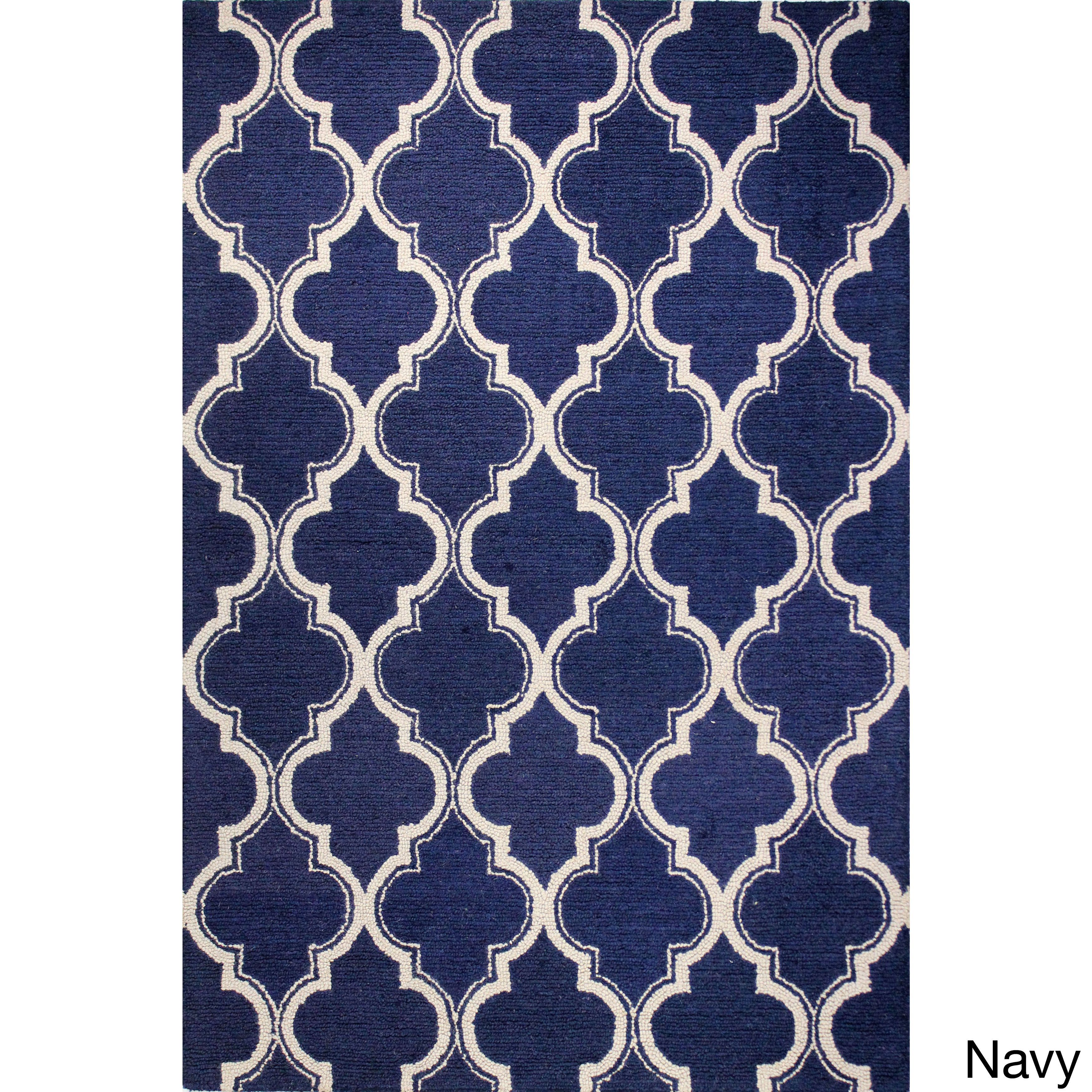 Sophia Tufted Wool Area Rug 7 X 9 Navy Blue Size 7 X 9
